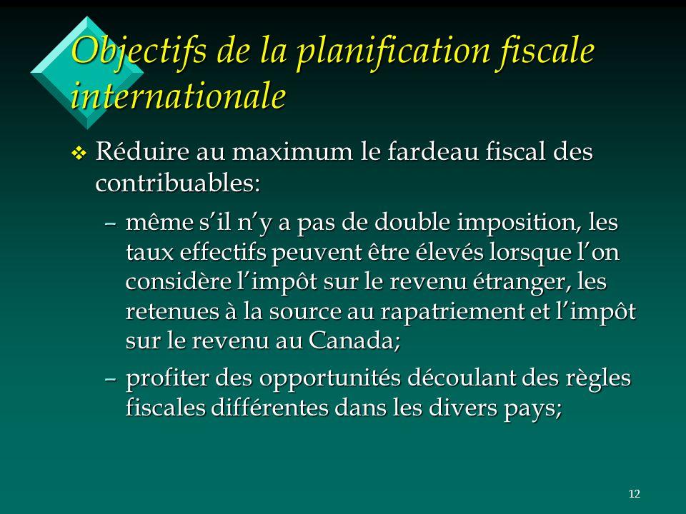 12 Objectifs de la planification fiscale internationale v Réduire au maximum le fardeau fiscal des contribuables: –même sil ny a pas de double imposit