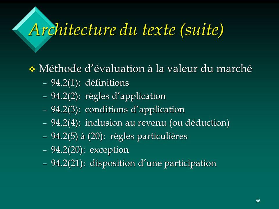 56 Architecture du texte (suite) v Méthode dévaluation à la valeur du marché –94.2(1): définitions –94.2(2): règles dapplication –94.2(3): conditions