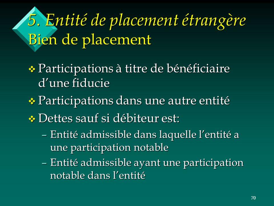 70 5. Entité de placement étrangère Bien de placement v Participations à titre de bénéficiaire dune fiducie v Participations dans une autre entité v D