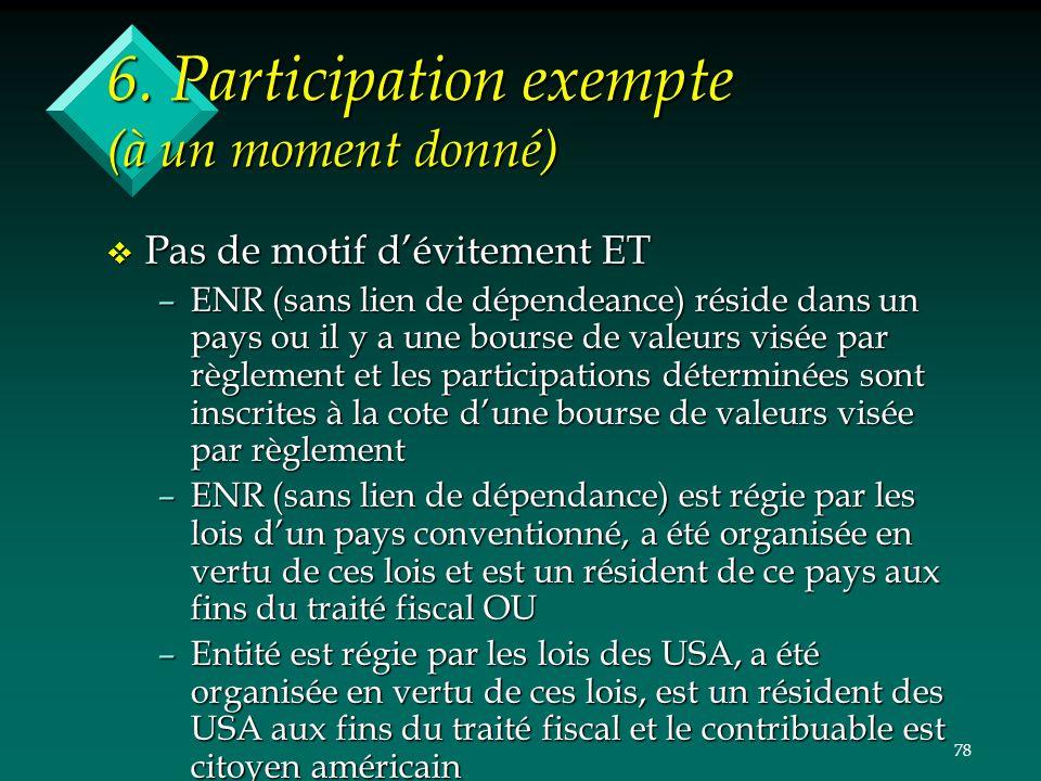 78 6. Participation exempte (à un moment donné) v Pas de motif dévitement ET –ENR (sans lien de dépendeance) réside dans un pays ou il y a une bourse