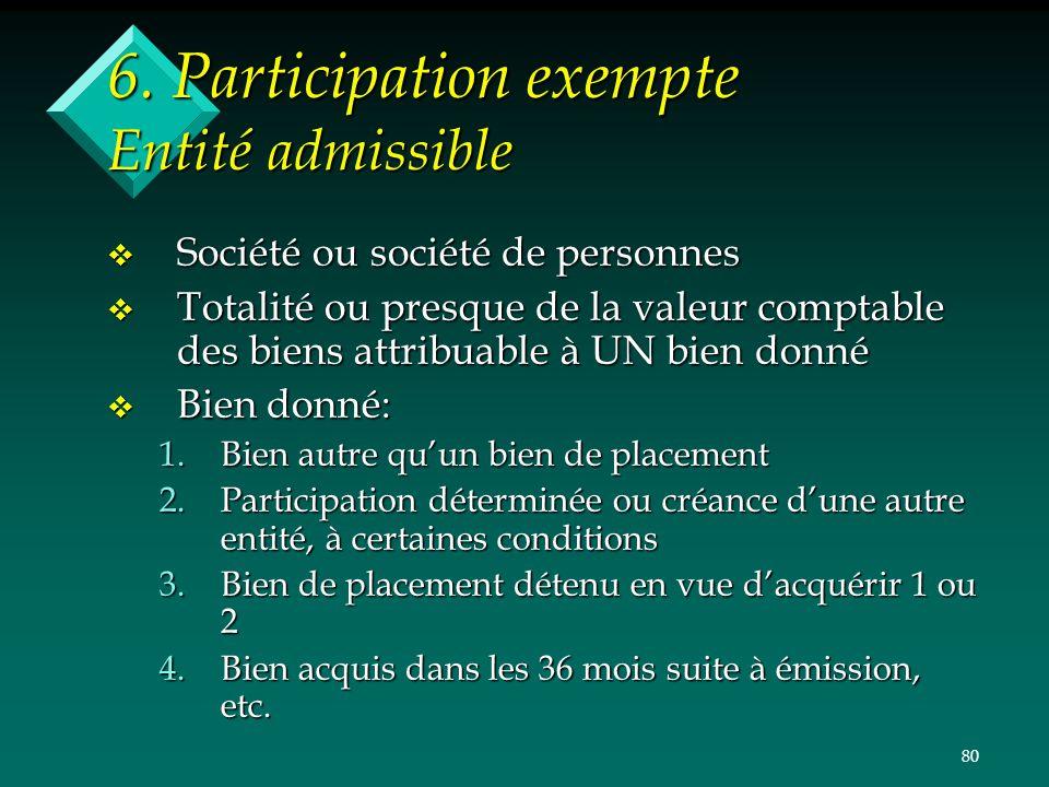 80 6. Participation exempte Entité admissible v Société ou société de personnes v Totalité ou presque de la valeur comptable des biens attribuable à U