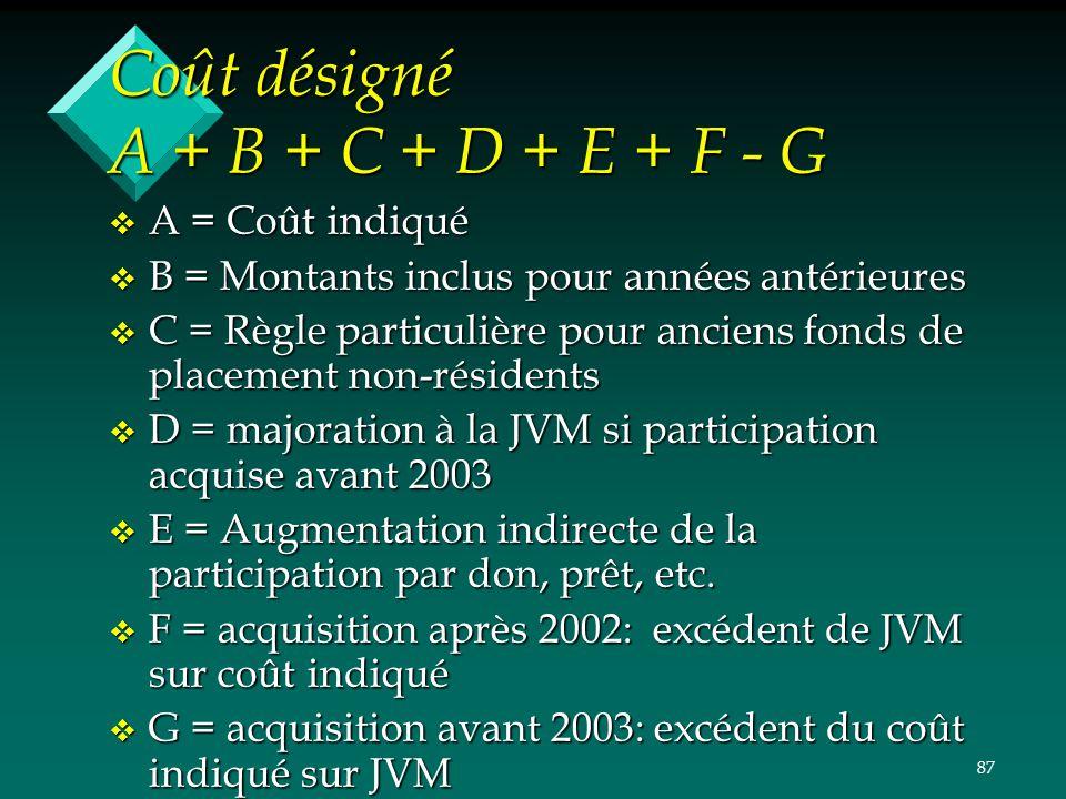 87 Coût désigné A + B + C + D + E + F - G v A = Coût indiqué v B = Montants inclus pour années antérieures v C = Règle particulière pour anciens fonds