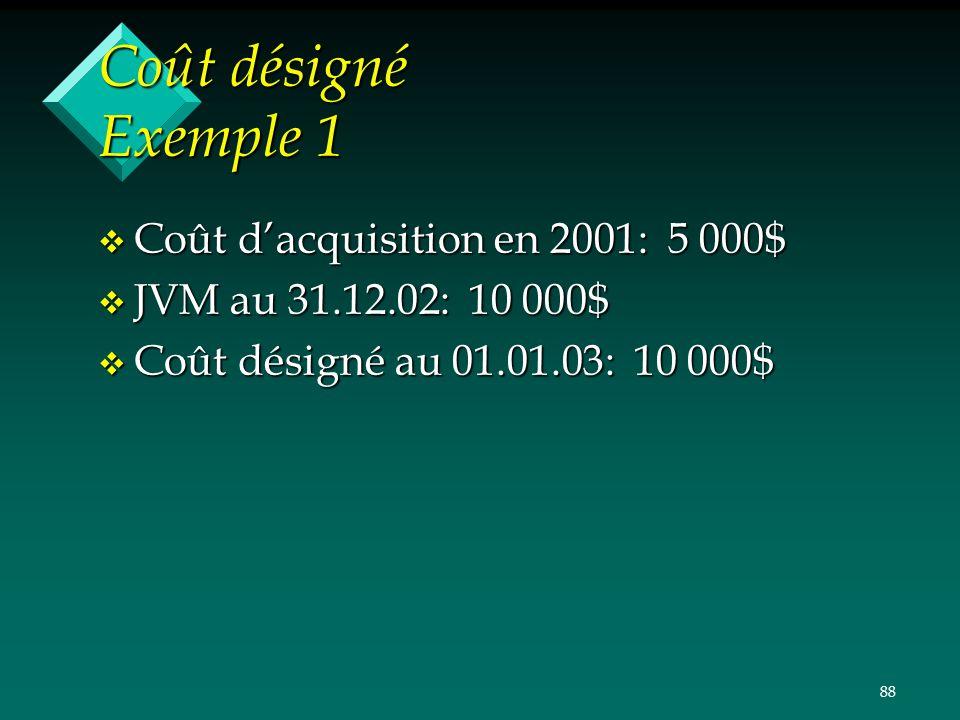 88 Coût désigné Exemple 1 v Coût dacquisition en 2001: 5 000$ v JVM au 31.12.02: 10 000$ v Coût désigné au 01.01.03: 10 000$