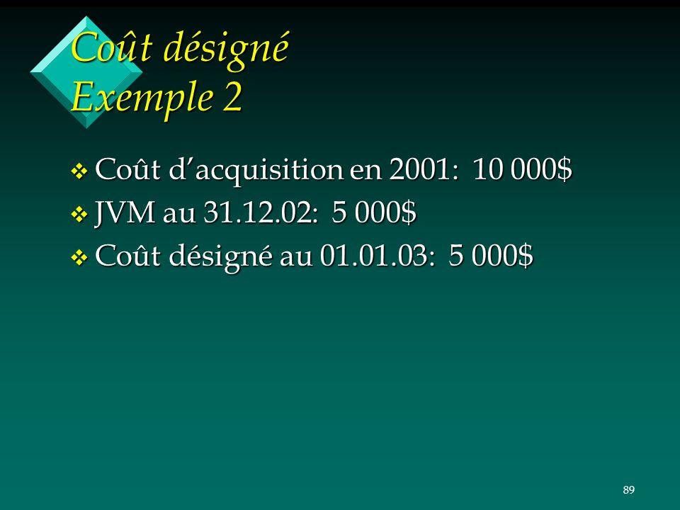 89 Coût désigné Exemple 2 v Coût dacquisition en 2001: 10 000$ v JVM au 31.12.02: 5 000$ v Coût désigné au 01.01.03: 5 000$