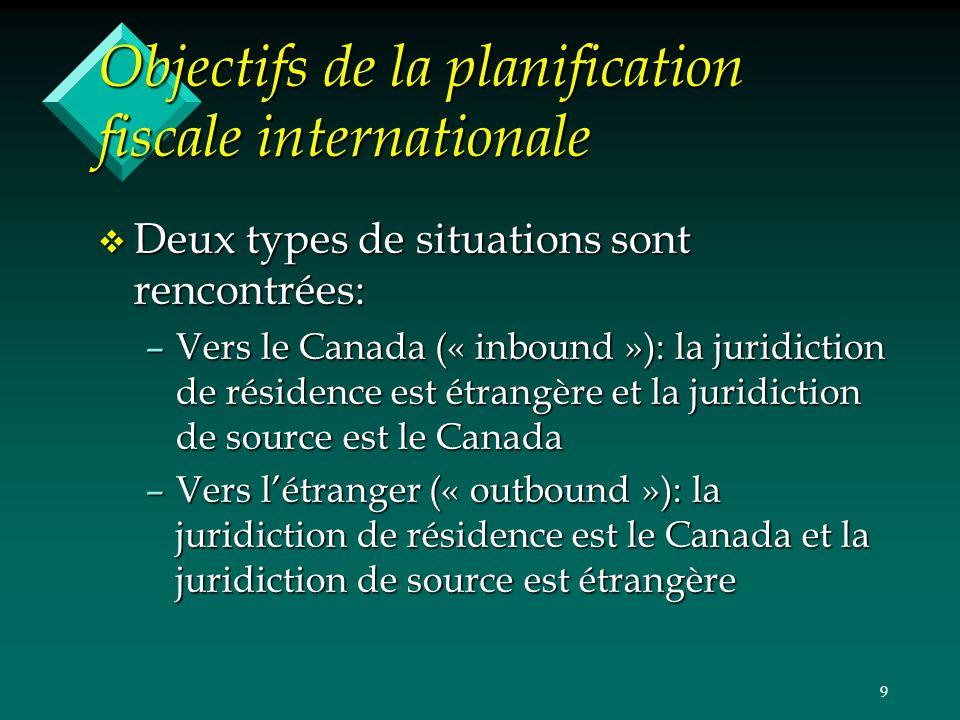 9 Objectifs de la planification fiscale internationale v Deux types de situations sont rencontrées: –Vers le Canada (« inbound »): la juridiction de r