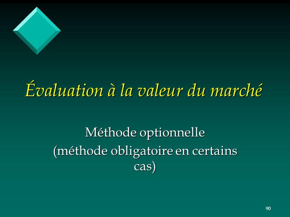 90 Évaluation à la valeur du marché Méthode optionnelle (méthode obligatoire en certains cas)