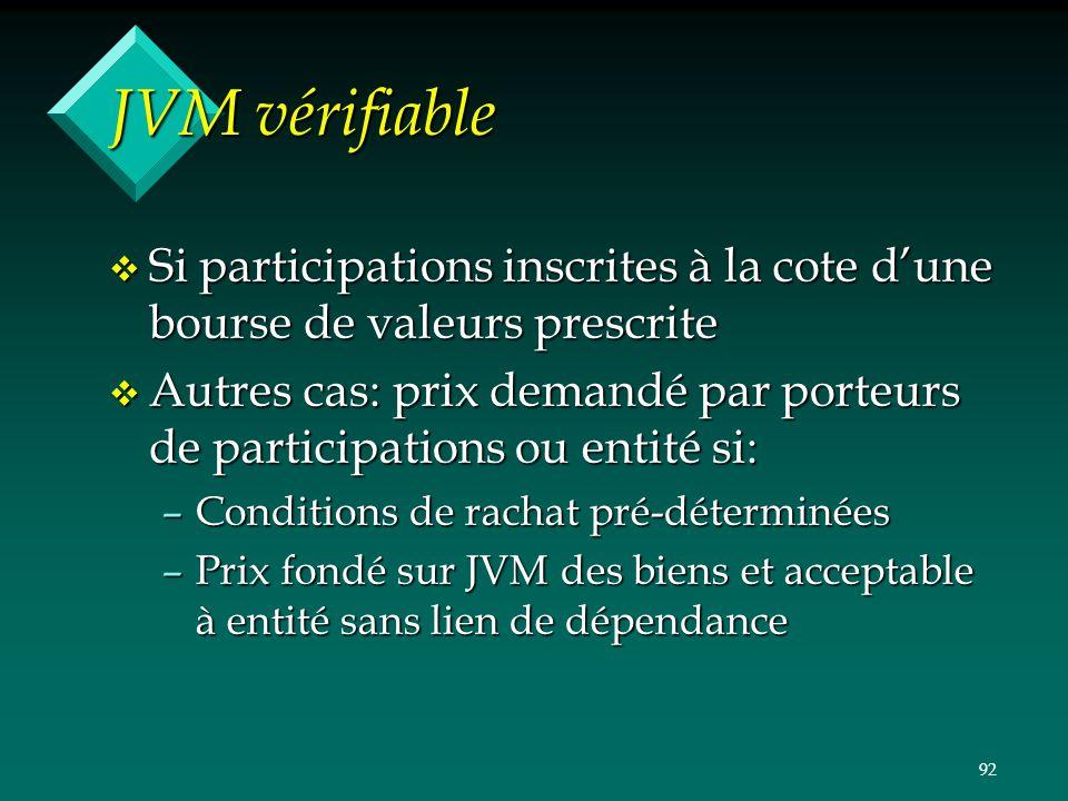 92 JVM vérifiable v Si participations inscrites à la cote dune bourse de valeurs prescrite v Autres cas: prix demandé par porteurs de participations o