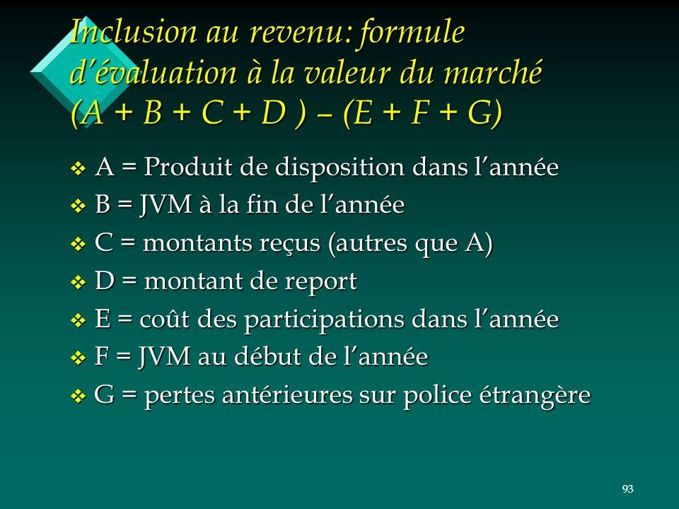93 Inclusion au revenu: formule dévaluation à la valeur du marché (A + B + C + D ) – (E + F + G) v A = Produit de disposition dans lannée v B = JVM à