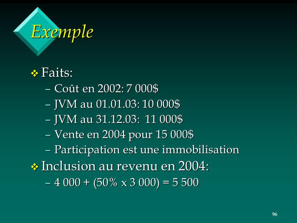 96 Exemple v Faits: –Coût en 2002: 7 000$ –JVM au 01.01.03: 10 000$ –JVM au 31.12.03: 11 000$ –Vente en 2004 pour 15 000$ –Participation est une immob