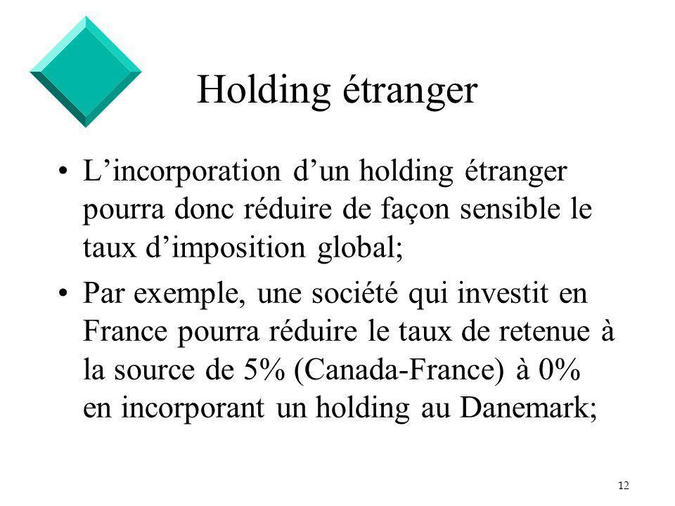 12 Holding étranger Lincorporation dun holding étranger pourra donc réduire de façon sensible le taux dimposition global; Par exemple, une société qui