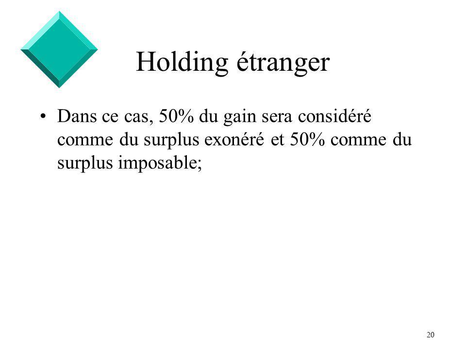 20 Holding étranger Dans ce cas, 50% du gain sera considéré comme du surplus exonéré et 50% comme du surplus imposable;