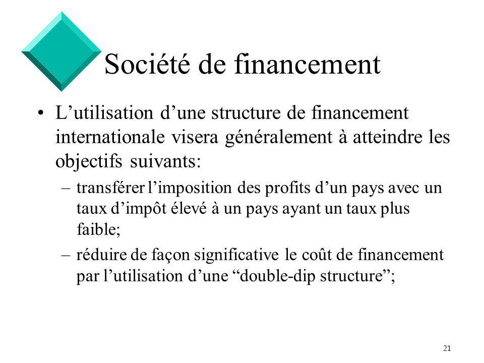 21 Société de financement Lutilisation dune structure de financement internationale visera généralement à atteindre les objectifs suivants: –transfére