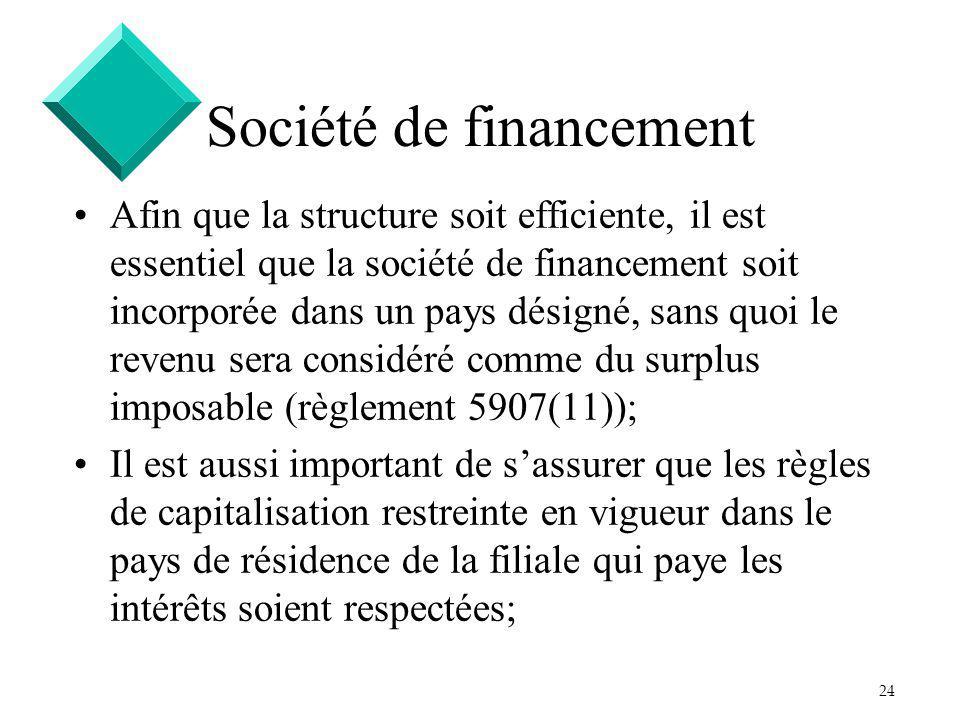 24 Société de financement Afin que la structure soit efficiente, il est essentiel que la société de financement soit incorporée dans un pays désigné,