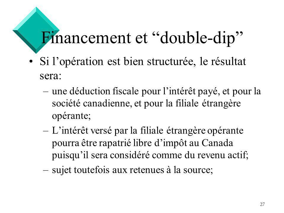 27 Financement et double-dip Si lopération est bien structurée, le résultat sera: –une déduction fiscale pour lintérêt payé, et pour la société canadi