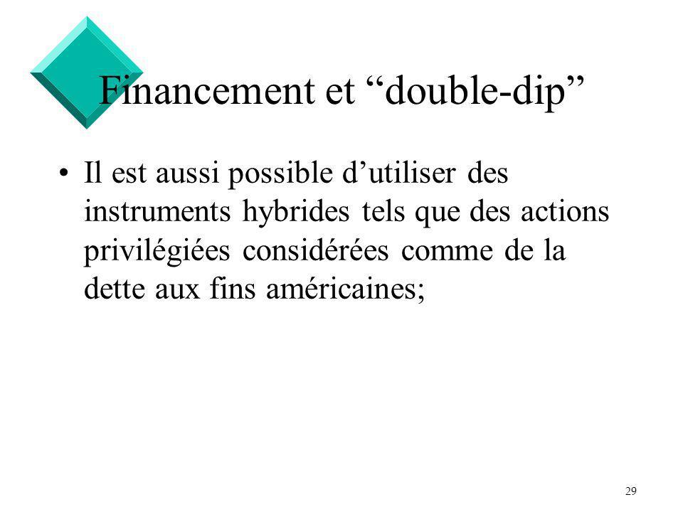 29 Financement et double-dip Il est aussi possible dutiliser des instruments hybrides tels que des actions privilégiées considérées comme de la dette