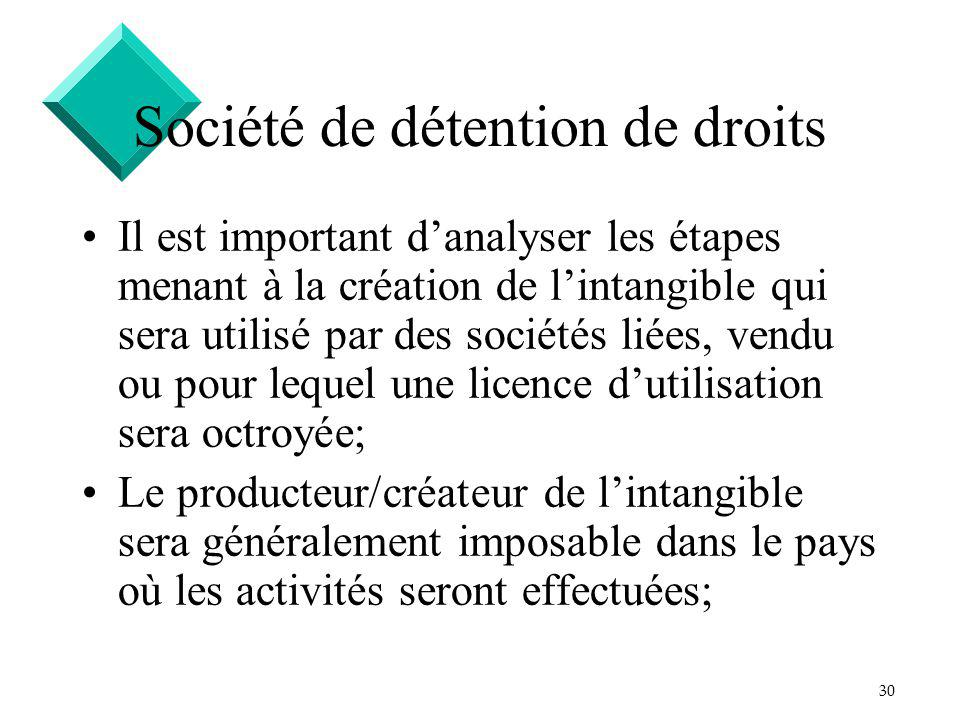 30 Société de détention de droits Il est important danalyser les étapes menant à la création de lintangible qui sera utilisé par des sociétés liées, v