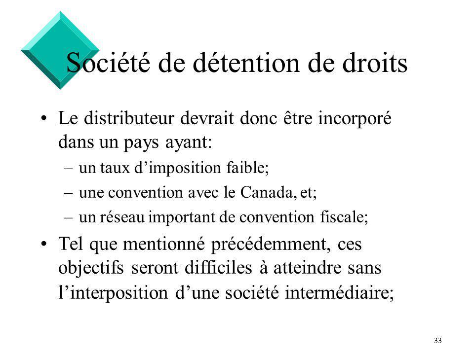 33 Société de détention de droits Le distributeur devrait donc être incorporé dans un pays ayant: –un taux dimposition faible; –une convention avec le