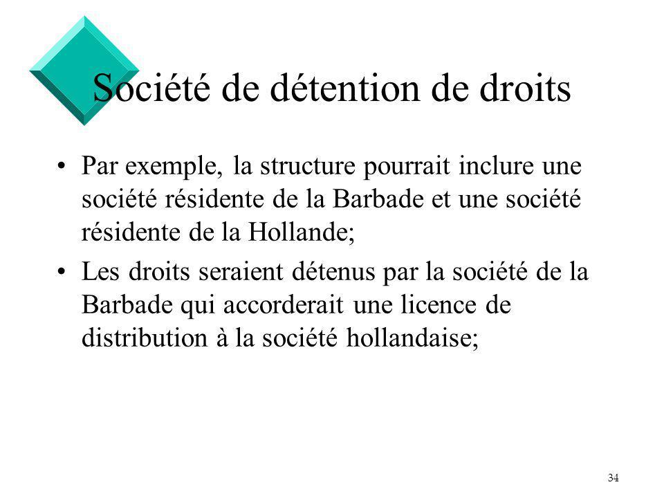 34 Société de détention de droits Par exemple, la structure pourrait inclure une société résidente de la Barbade et une société résidente de la Hollande; Les droits seraient détenus par la société de la Barbade qui accorderait une licence de distribution à la société hollandaise;
