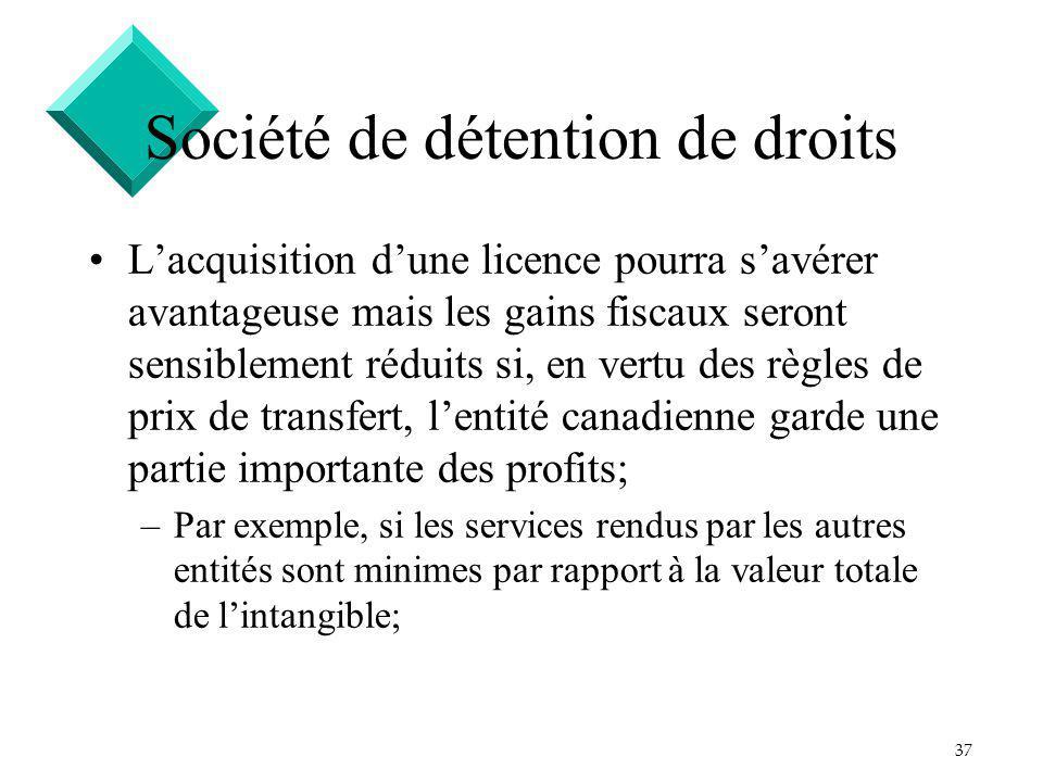 37 Société de détention de droits Lacquisition dune licence pourra savérer avantageuse mais les gains fiscaux seront sensiblement réduits si, en vertu