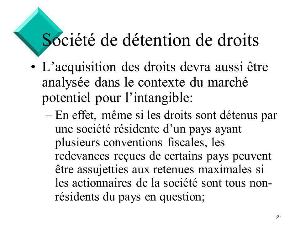 39 Société de détention de droits Lacquisition des droits devra aussi être analysée dans le contexte du marché potentiel pour lintangible: –En effet,