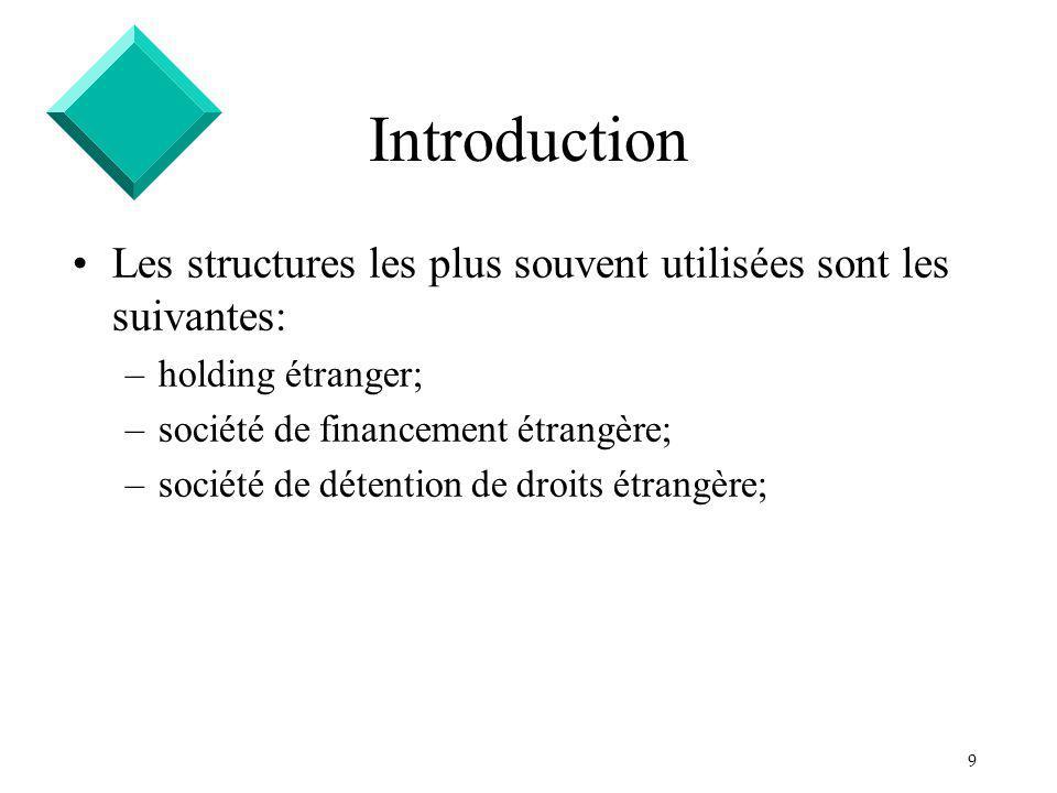 9 Introduction Les structures les plus souvent utilisées sont les suivantes: –holding étranger; –société de financement étrangère; –société de détention de droits étrangère;