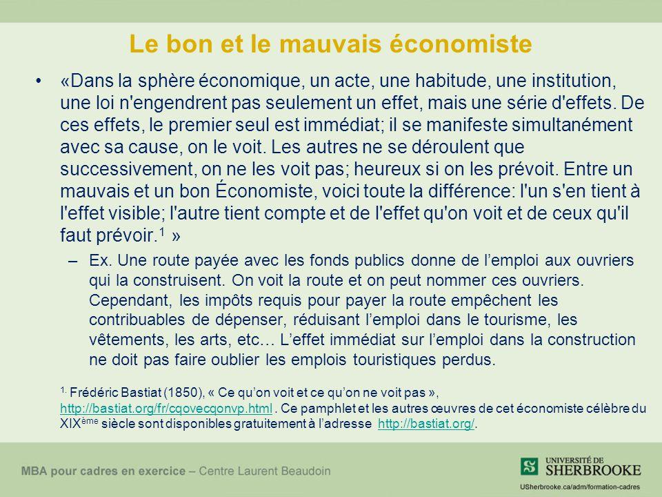 Le bon et le mauvais économiste «Dans la sphère économique, un acte, une habitude, une institution, une loi n'engendrent pas seulement un effet, mais