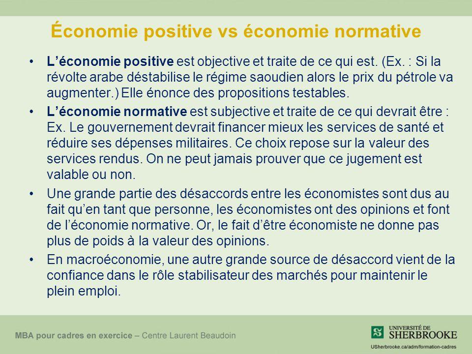 Économie positive vs économie normative Léconomie positive est objective et traite de ce qui est. (Ex. : Si la révolte arabe déstabilise le régime sao