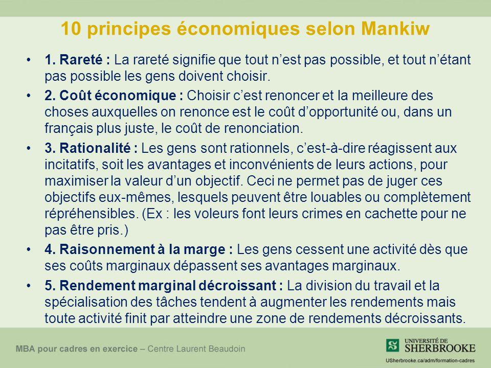 10 principes économiques selon Mankiw 1. Rareté : La rareté signifie que tout nest pas possible, et tout nétant pas possible les gens doivent choisir.