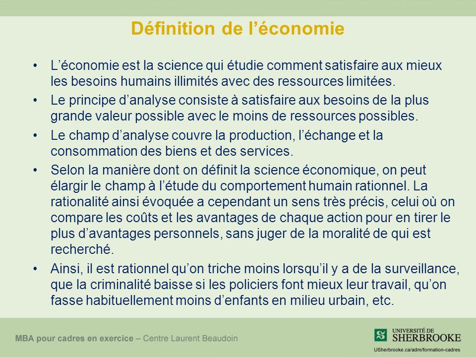 Définition de léconomie Léconomie est la science qui étudie comment satisfaire aux mieux les besoins humains illimités avec des ressources limitées. L