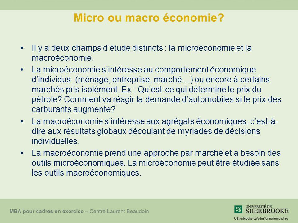 Micro ou macro économie? Il y a deux champs détude distincts : la microéconomie et la macroéconomie. La microéconomie sintéresse au comportement écono