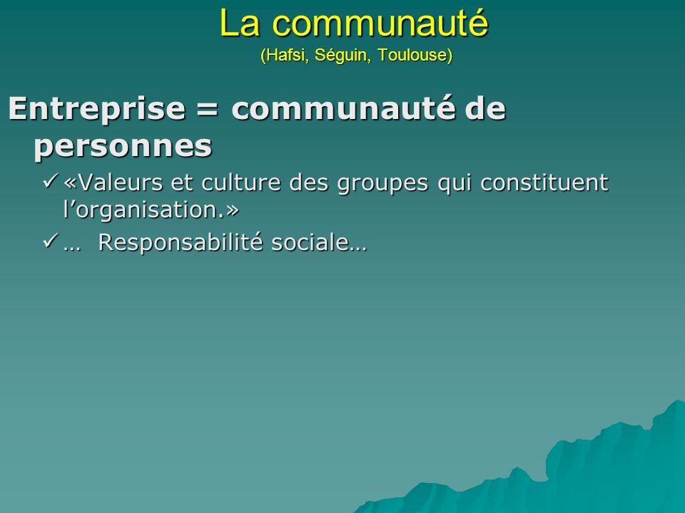 La communauté (Hafsi, Séguin, Toulouse) Entreprise = communauté de personnes «Valeurs et culture des groupes qui constituent lorganisation.» «Valeurs et culture des groupes qui constituent lorganisation.» … Responsabilité sociale… … Responsabilité sociale…