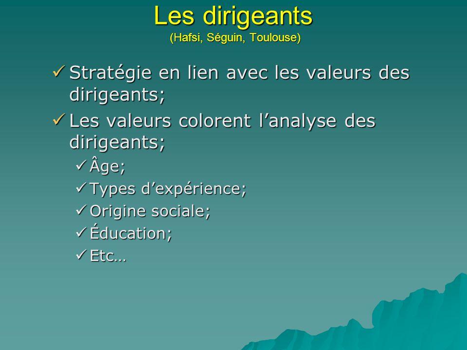 Les dirigeants (Hafsi, Séguin, Toulouse) Stratégie en lien avec les valeurs des dirigeants; Stratégie en lien avec les valeurs des dirigeants; Les val