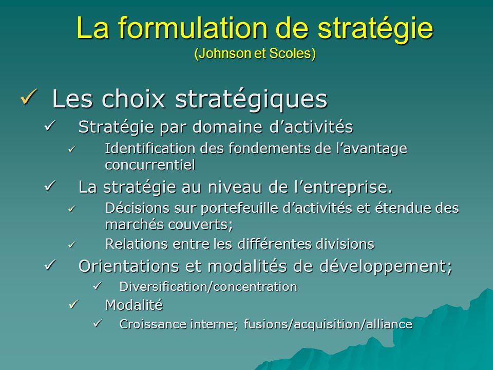 La formulation de stratégie (Johnson et Scoles) Les choix stratégiques Les choix stratégiques Stratégie par domaine dactivités Stratégie par domaine d