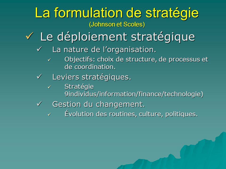 La formulation de stratégie (Johnson et Scoles) Le déploiement stratégique Le déploiement stratégique La nature de lorganisation. La nature de lorgani