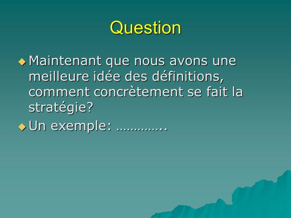 Question Maintenant que nous avons une meilleure idée des définitions, comment concrètement se fait la stratégie? Maintenant que nous avons une meille