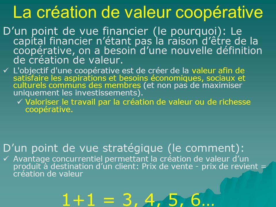 La création de valeur coopérative Dun point de vue financier (le pourquoi): Le capital financier nétant pas la raison dêtre de la coopérative, on a besoin dune nouvelle définition de création de valeur.