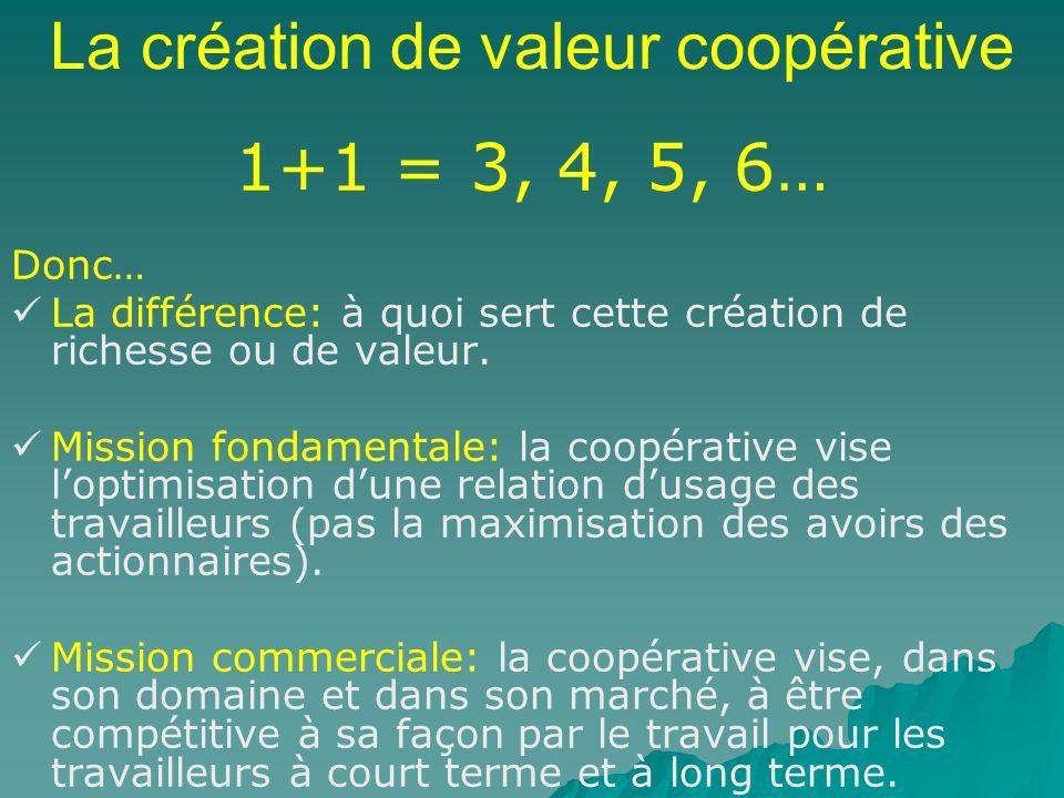 La création de valeur coopérative 1+1 = 3, 4, 5, 6… Donc… La différence: à quoi sert cette création de richesse ou de valeur. Mission fondamentale: la