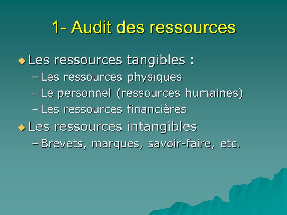 1- Audit des ressources Les ressources tangibles : Les ressources tangibles : –Les ressources physiques –Le personnel (ressources humaines) –Les resso