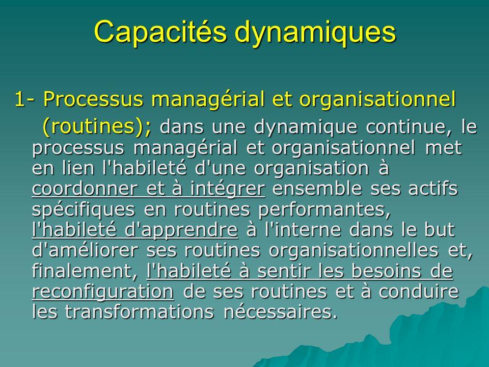 Capacités dynamiques 1- Processus managérial et organisationnel (routines); dans une dynamique continue, le processus managérial et organisationnel me