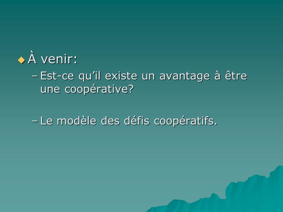 À venir: À venir: –Est-ce quil existe un avantage à être une coopérative? –Le modèle des défis coopératifs.