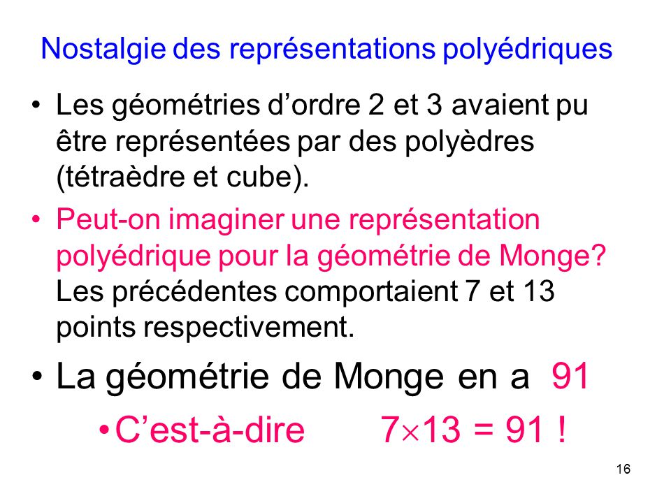 16 Les géométries dordre 2 et 3 avaient pu être représentées par des polyèdres (tétraèdre et cube). Peut-on imaginer une représentation polyédrique po