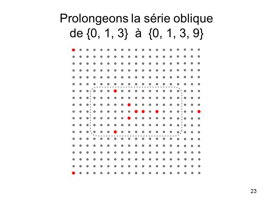 23 Prolongeons la série oblique de {0, 1, 3} à {0, 1, 3, 9}