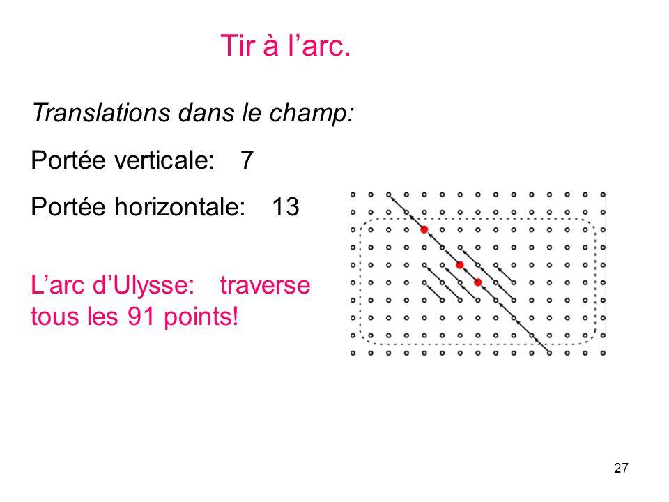 27 Tir à larc. Translations dans le champ: Portée verticale: 7 Portée horizontale: 13 Larc dUlysse: traverse tous les 91 points!