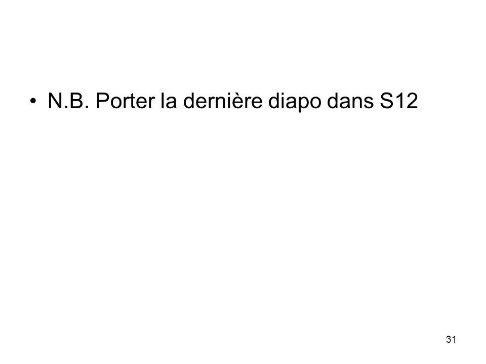 31 N.B. Porter la dernière diapo dans S12