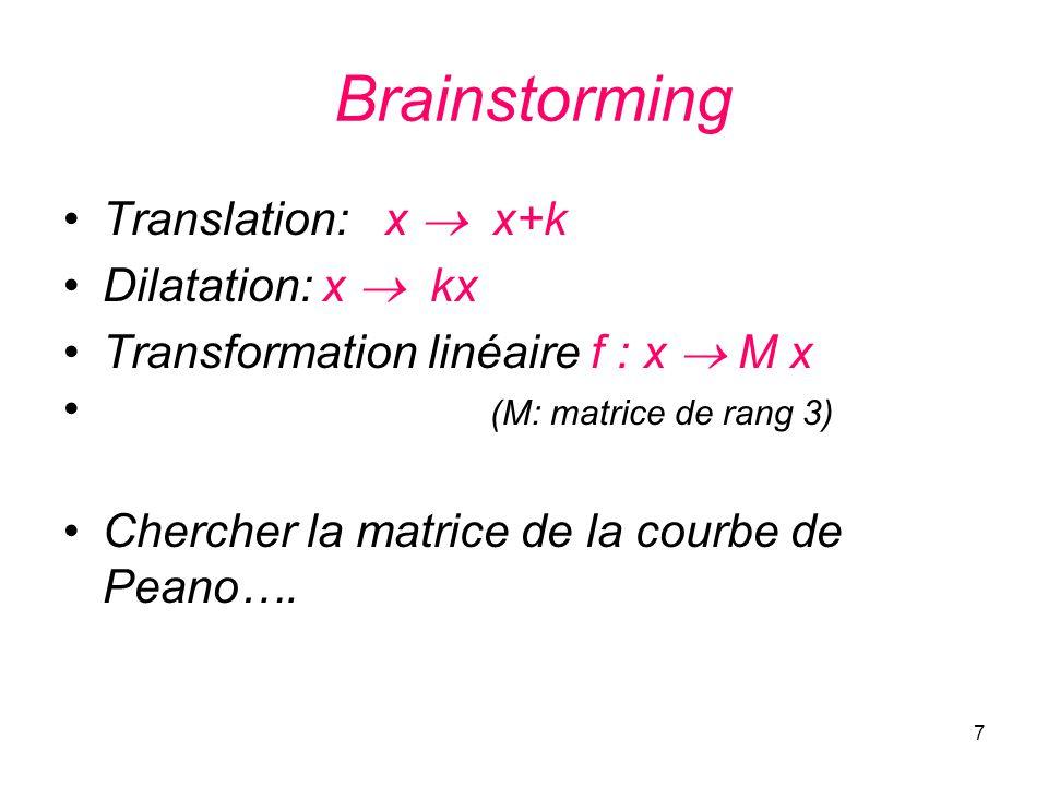 7 Brainstorming Translation: x x+k Dilatation: x kx Transformation linéaire f : x M x (M: matrice de rang 3) Chercher la matrice de la courbe de Peano