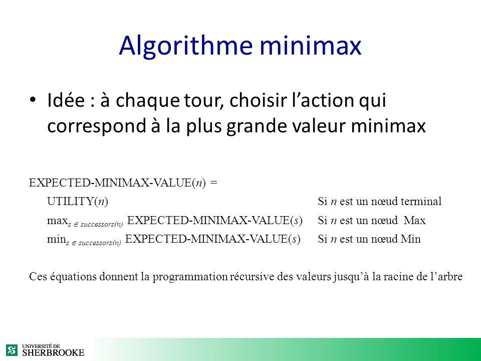 Algorithme minimax Idée : à chaque tour, choisir laction qui correspond à la plus grande valeur minimax EXPECTED-MINIMAX-VALUE(n) = UTILITY(n)Si n est