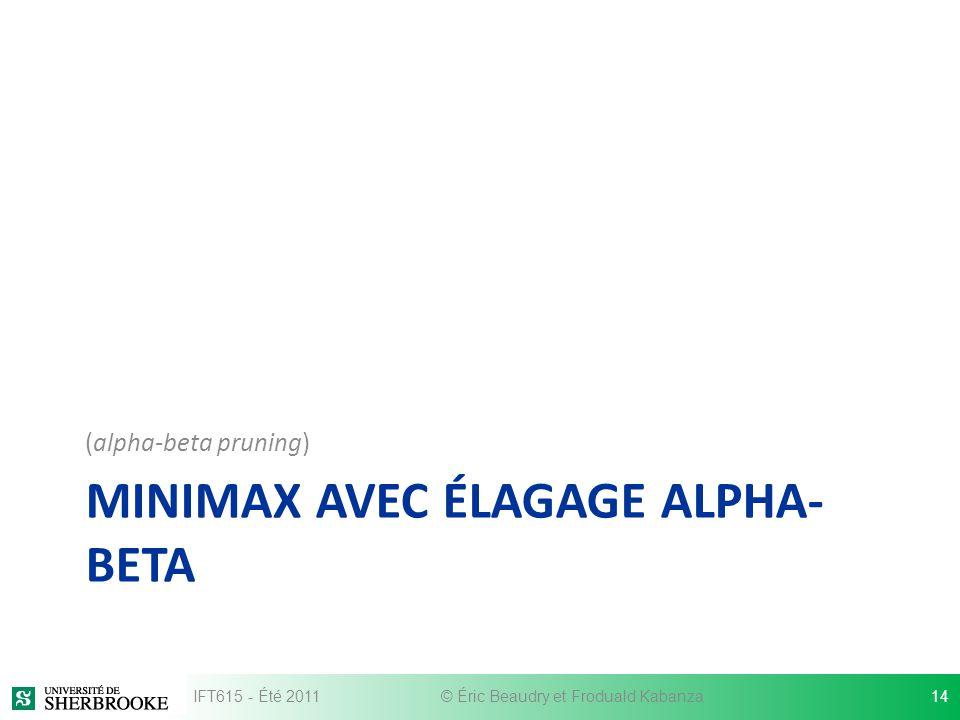MINIMAX AVEC ÉLAGAGE ALPHA- BETA (alpha-beta pruning) IFT615 - Été 2011© Éric Beaudry et Froduald Kabanza14