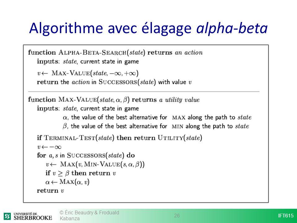 Algorithme avec élagage alpha-beta © Éric Beaudry & Froduald Kabanza 26IFT615