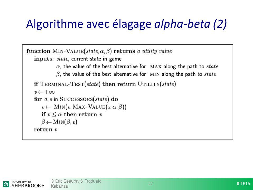 Algorithme avec élagage alpha-beta (2) © Éric Beaudry & Froduald Kabanza 27IFT615