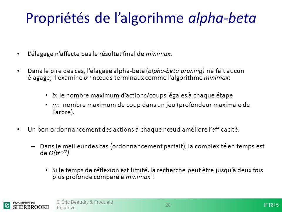 Propriétés de lalgorihme alpha-beta Lélagage naffecte pas le résultat final de minimax. Dans le pire des cas, lélagage alpha-beta (alpha-beta pruning)
